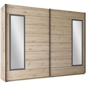 Carryhome Schwebetürenschrank 2-türig Grau, Braun , Graphit, Eiche , Holzwerkstoff , 3 Fächer , 270x210x60 cm