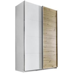 Carryhome Schwebetürenschrank 2-türig Weiß, Braun , Holzwerkstoff , 136x210x62 cm