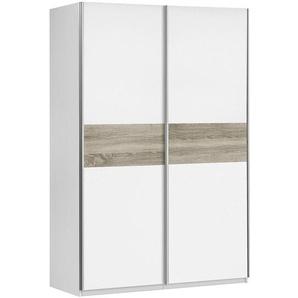 Carryhome: Schwebetürenschrank, Holzwerkstoff, Weiß, Sonoma Eiche, B/H/T 120 190,5 61,2
