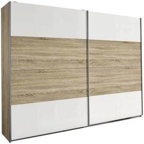 Carryhome: Schwebetürenschrank, Holzwerkstoff, Weiß, Sonoma Eiche, B/H/T 226 210 62