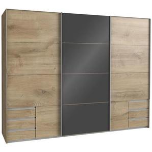 Carryhome Schwebetürenschrank 3-türig Braun, Grau , Eiche, Grau , Holzwerkstoff , 6 Schubladen , 270x210x65 cm