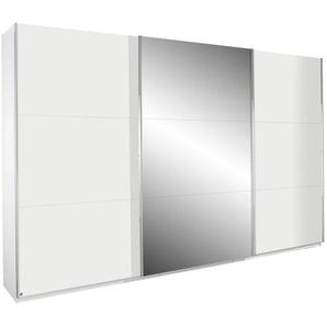 Carryhome Schwebetürenschrank 3-türig Weiß , Holzwerkstoff , 5 Fächer , 360x236x69 cm