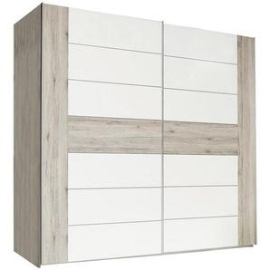 Carryhome: Schwebetürenschrank, Holzwerkstoff, Weiß, Eiche, B/H/T 270 210 61