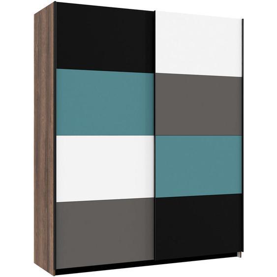 Carryhome Schwebetürenschrank , Mehrfarbig, Braun , Holzwerkstoff , 2 Fächer , 170x210x61 cm