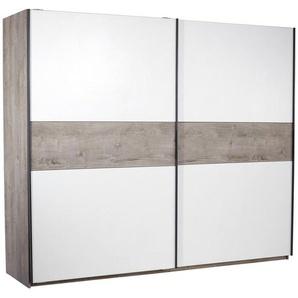 Carryhome: Schwebetürenschrank, Holzwerkstoff, Weiß, Eiche, B/H 225 270
