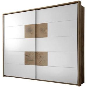 Carryhome: Schwebetürenschrank, Holzwerkstoff, Weiß, Eiche, B/H/T 280 230 64