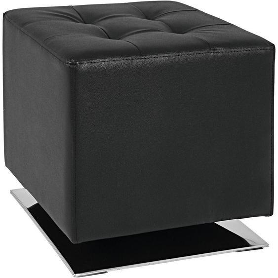 Carryhome Sitzwürfel Lederlook Schwarz , Textil , 40x42x40 cm