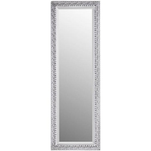Carryhome Spiegel , Silber , Holz, Glas , Eukalyptusholz , rechteckig , 50x150x2.7 cm , Facettenschliff, Verzierungen, senkrecht und waagrecht montierbar , Schlafzimmer, Spiegel, Wandspiegel