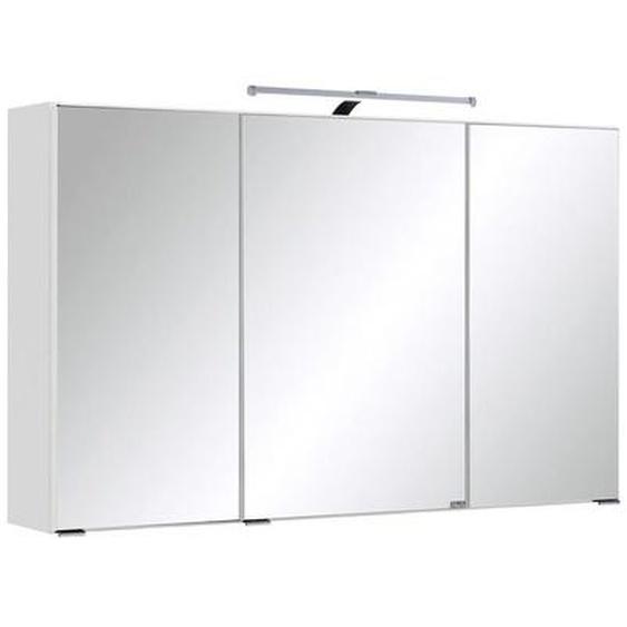 Carryhome Spiegelschrank Weiß , Glas , 6 Fächer , 100x66x20 cm