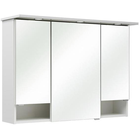 Carryhome Spiegelschrank Weiß , Holzwerkstoff , 3 Fächer , 95x71.6x20 cm