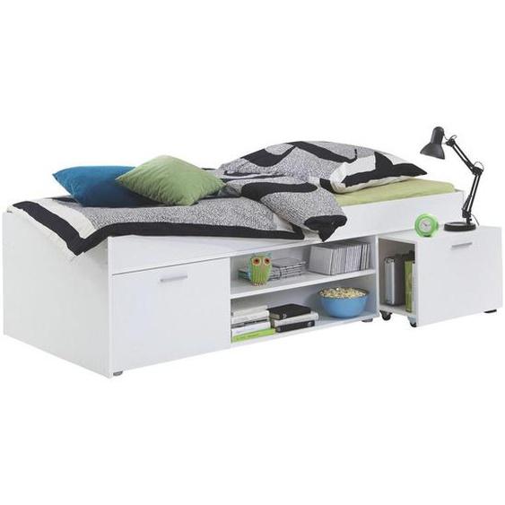 Carryhome Stauraumbett Weiß , Kunststoff , 2 Fächer , 90x200 cm
