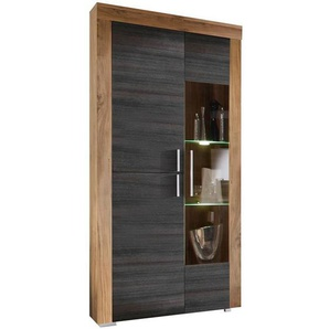 Carryhome: Vitrine, Glas, Holzwerkstoff, Dunkelbraun, Nussbaum, B/H/T 89 212 34