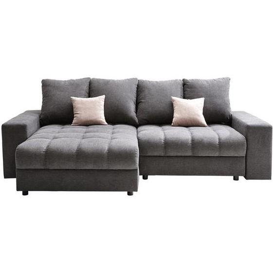 Carryhome Wohnlandschaft Grau Struktur , Textil , 4-Sitzer , 163 cm
