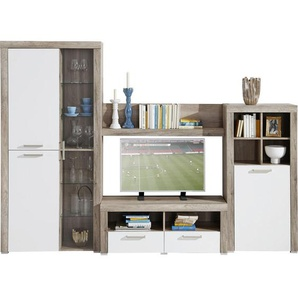 Carryhome: Wohnwand, Glas, Holzwerkstoff, Eiche, Weiß, B/H/T 271 194 42
