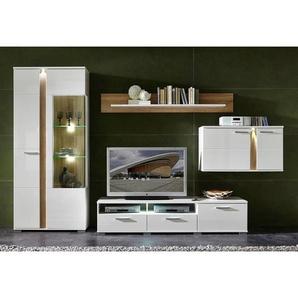 Carryhome: Wohnwand, Glas, Holzwerkstoff, Eiche, Weiß, B/H/T 331 202 54