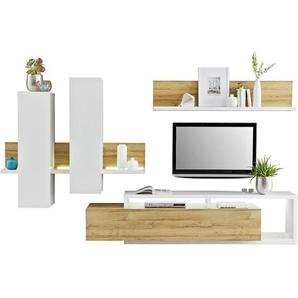 Carryhome: Wohnwand, Holzwerkstoff, Eiche, Weiß, B/H/T 319 155 45