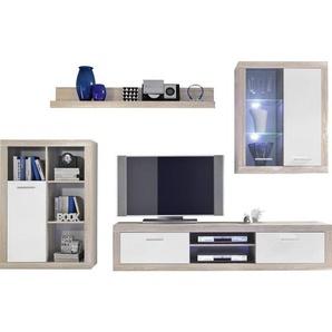 Carryhome: Wohnwand, Glas, Holzwerkstoff, Sonoma Eiche, Weiß, B/H/T 310 200 40