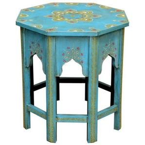 Casa Moro Beistelltisch »Orientalischer Tisch Saada Blau L Ø 38cm Höhe 45cm kunstvoll handbemalt, Kunsthandwerk aus Marokko, Vintage Sofatisch handmade Couchtisch, MA32-47-C-L«