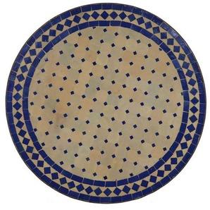 Casa Moro Gartentisch »Mediterraner Gartentisch marokkanischer Mosaiktisch Ø 70 cm rund blau terrakotta mit Gestell H 73 cm Kunsthandwerk aus Marrakesch, Dekorativer Balkontisch Bistrotisch Beistelltisch, MT2084«, Handmade