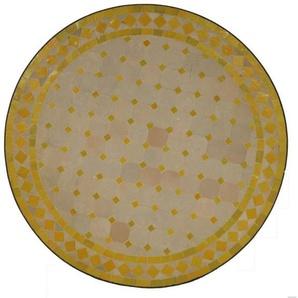 Casa Moro Gartentisch »Mediterraner Gartentisch marokkanischer Mosaiktisch Ø 70 cm rund gelb terrakotta mit Gestell H 73 cm Kunsthandwerk aus Marrakesch, Dekorativer Balkontisch Bistrotisch Beistelltisch, MT2087«, Handmade