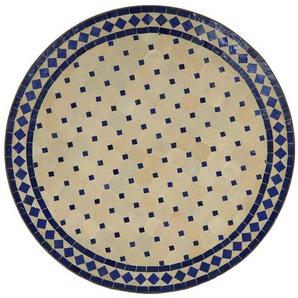 Casa Moro Gartentisch »Mediterraner Gartentisch marokkanischer Mosaiktisch Ø 80 cm rund blau terrakotta mit Gestell H 73 cm Kunsthandwerk aus Marrakesch, Dekorativer Balkontisch Bistrotisch Beistelltisch, MT2093«