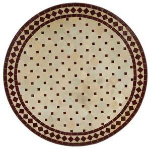 Casa Moro Gartentisch »Mediterraner Gartentisch Mosaiktisch Ø 80 cm rund Bordeaux terrakotta mit Gestell H 73 cm, Kunsthandwerk aus Marokko, Dekorativer Balkontisch Bistrotisch Esstisch, MT2092«