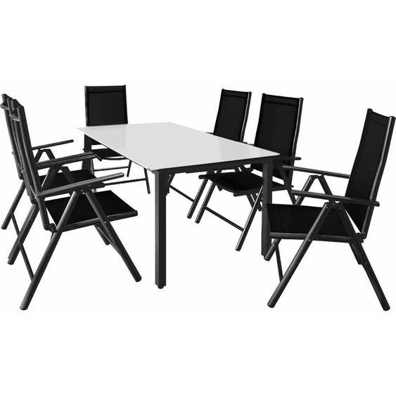 6+1 Sitzgruppe Alu Bern Klappstühle Gartentisch 150x90cm Milchglas Sitzgarnitur Gartenmöbel Set anthrazit - Casaria