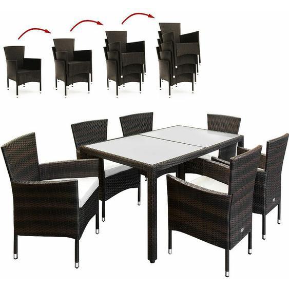 Poly Rattan 6+1 Sitzgruppe Stapelbare Stühle 7cm dicke Sitzauflagen Gartentisch wetterfestes Polyrattan Braun - Gartenmöbel Sitzgarnitur Essgruppe Garten Set - Casaria