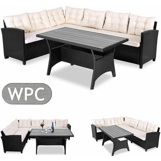 Casaria Poly Rattan Sitzgruppe Lounge WPC Tischplatte 20cm Kissen & 7cm Auflagen Garten Ecklounge für 6 Personen Gartenmöbel Set