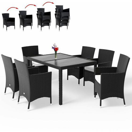 Poly Rattan Sitzgruppe WPC Tisch Stühle stapelbar Gartenmöbel Sitzgarnitur Garten Set Schwarz Sitzgruppe 6+1 - Casaria