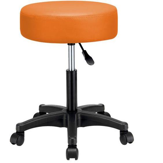 Casaria Rollhocker Höhenverstellbar Kunstleder Orange