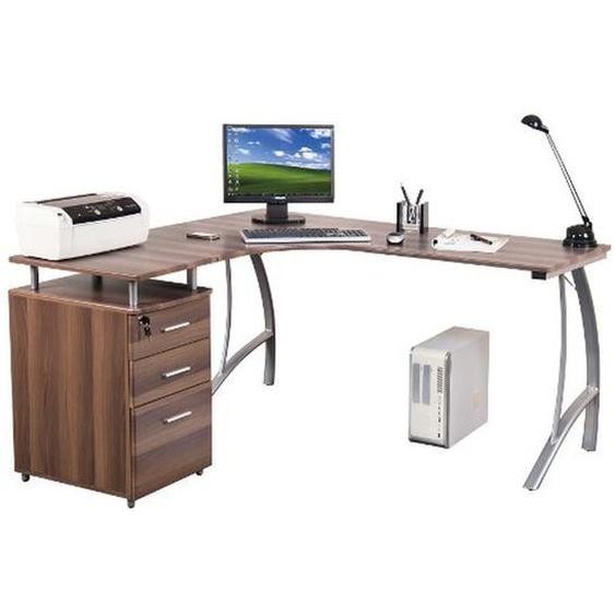 CASTOR | 151x143 - Schreibtisch Walnuss