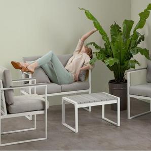 Catania 4-tlg. Lounge-Set, Weiss und Grau