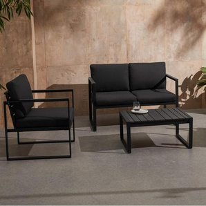 Catania Garten Lounge-Set, Schwarz und Polywood