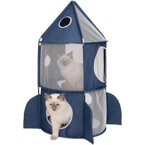 Catit Tierbett CA Vesper Rakete, Katzenhoehle, BxLxH: 49x49x90 cm B/H/L: 49 x 90 blau Katzenkörbe -kissen Katze Tierbedarf