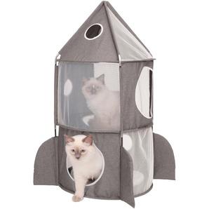 Catit Tierbett CA Vesper Rakete, Katzenhoehle, BxLxH: 49x49x90 cm B/H/L: 49 x 90 grau Katzenkörbe -kissen Katze Tierbedarf