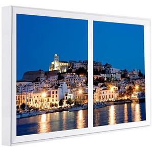 Ccretroiluminados Ibiza falsche Fenster Wandbilder beleuchtet, Holz, Mehrfarbig, 80x 6.5x 60cm