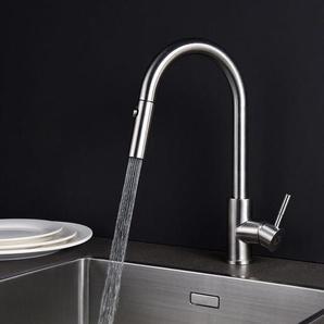360°Drehbar Wasserhahn Küche | Küchenarmatur mit herausziehbarem/ausziehbar Brause | Küche Spültischarmatur Einhebelmischer Wasserhahn Mischbatterie Spülbecken - LONHEO