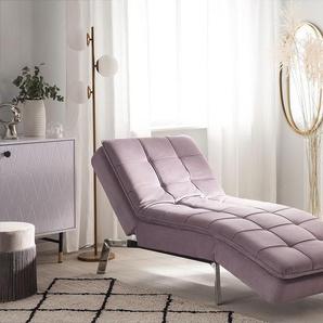 Chaiselongue Samtstoff rosa verstellbar LOIRET