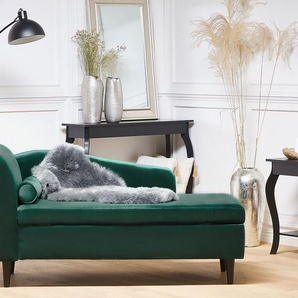 Chaiselongue Samtstoff smaragdgrün linksseitig LUIRO