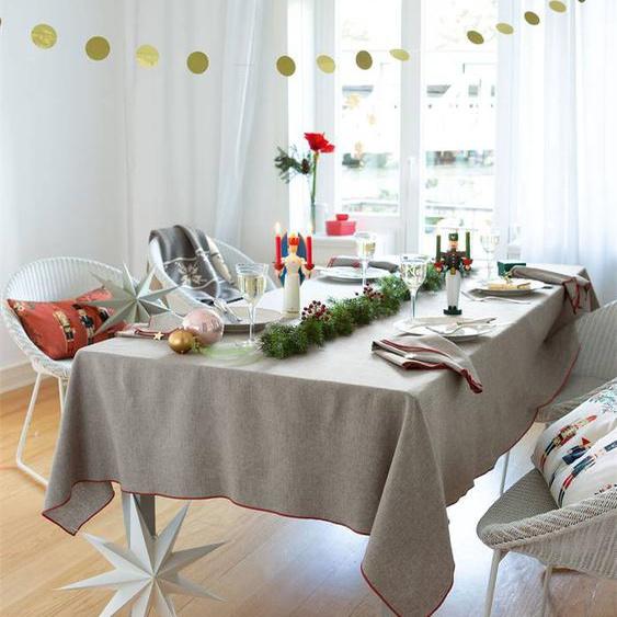 Chambraytischdecke roter Rand - bunt - 100 % Baumwolle - Tischwäsche