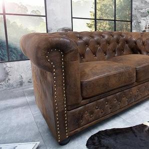 Chesterfield 2er Sofa 150cm antik braun mit Knopfheftung und Federkern