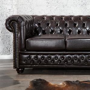 Chesterfield 2er Sofa 150cm dunkelbraun mit Knopfheftung und Federkern
