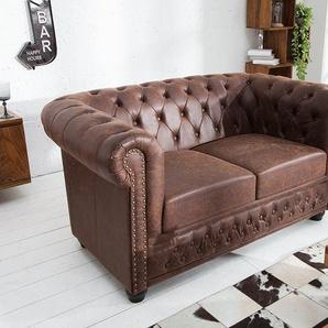 Chesterfield 2er Sofa 150cm vintage braun Sattelleder mit Knopfheftung und Federkern
