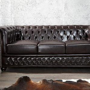 Chesterfield 3er Sofa 200cm dunklebraun mit Knopfheftung und Federkern