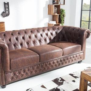Chesterfield 3er Sofa 200cm vintage braun Sattelleder mit Knopfheftung und Federkern