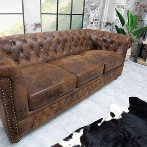 Edles Chesterfield 205cm 3er Sofa Antik Look Knopfheftung