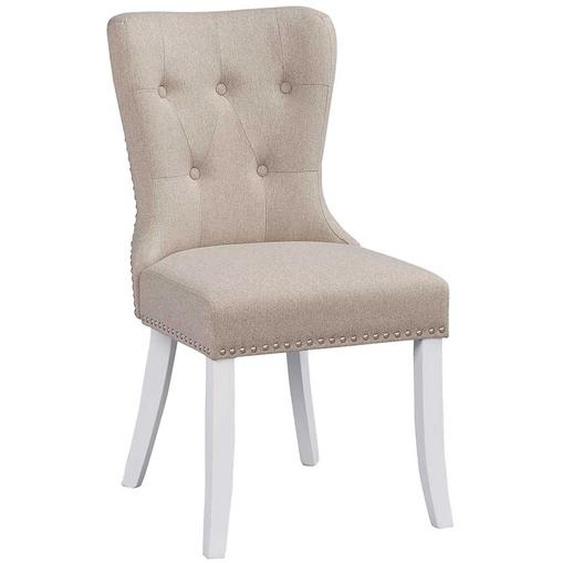 Chesterfield Design Stühle in Beige und Weiß Webstoff (2er Set)