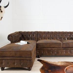 Chesterfield Ecksofa 280cm antik braun mit Knopfheftung und Federkern OT links