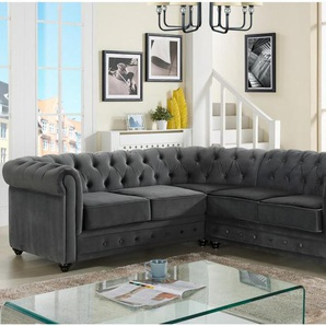 Chesterfield Ecksofa Samt Anton - Anthrazit